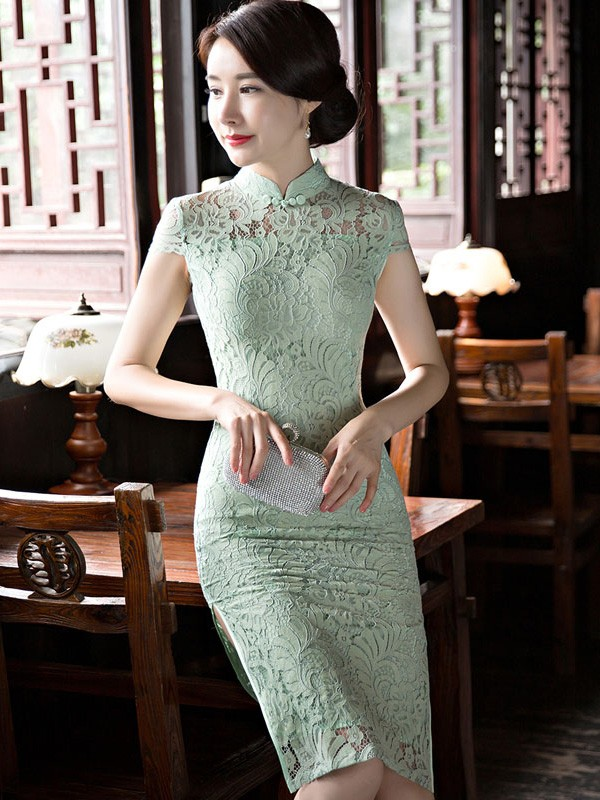 Illusion Lace Midi Qipao / Cheongsam Dress