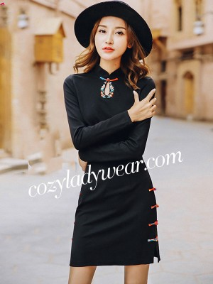 Black Embroidered Qipao / Cheongsam Dress with Long Sleeve