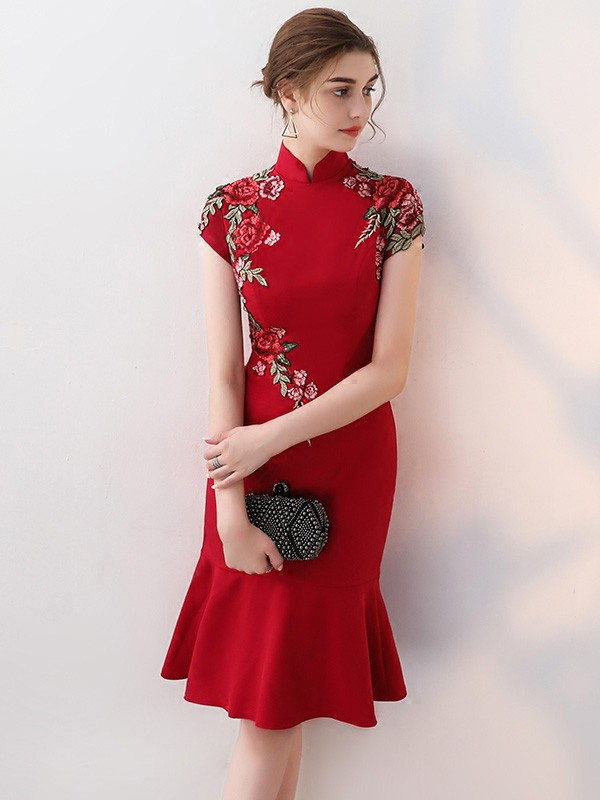 Embroidered Midi Qipao / Cheongsam Dress with Frill Hem