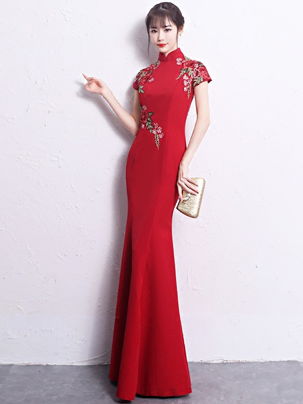 Floor Length Mermaid Embroidered Qipao /Cheongsam Wedding Dress