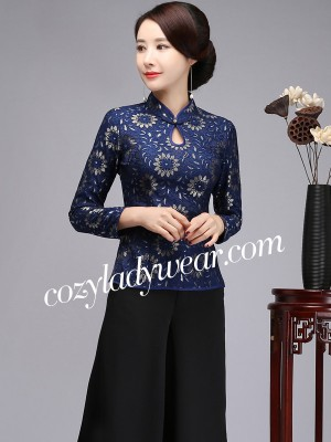 Floral Lace Qipao / Cheongsam Blouse Top with Long Sleeves