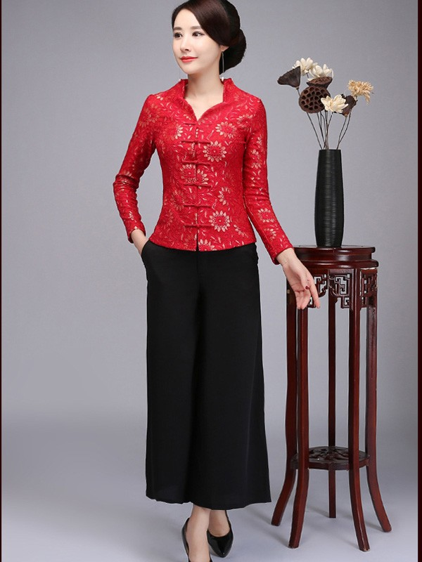 Floral V-neck Qipao / Cheongsam Top Jacket