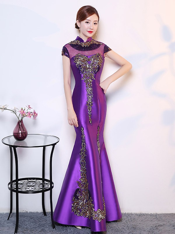 907f665e64df3 Illusion Sequined Mermaid Qipao / Cheongsam Wedding Dress - CozyLadyWear