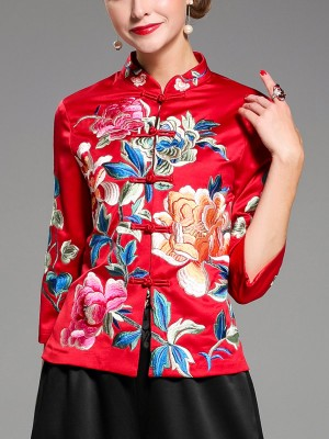 Vintage Embroidered Qipao / Cheongsam Top Jacket