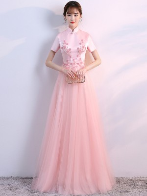 Pink Bridesmaids Appliques Qipao / Cheongsam Wedding Dress with Tulle Skirt