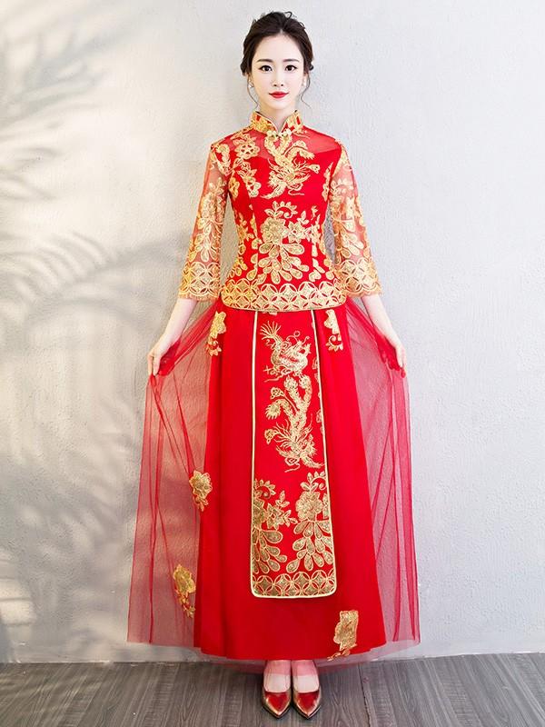 Chinese Wedding Qun Kwa Embroidered Phoenix Top Amp Skirt