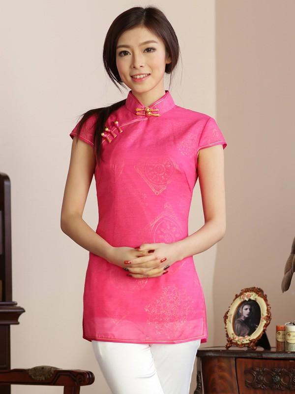 Qipao / Cheongsam Top Blouse in Retro Printing
