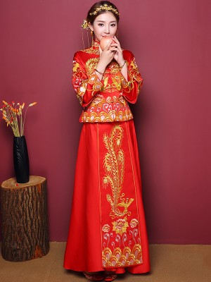 2-Piece Embroidered Phoenix Wedding Qun Kwa