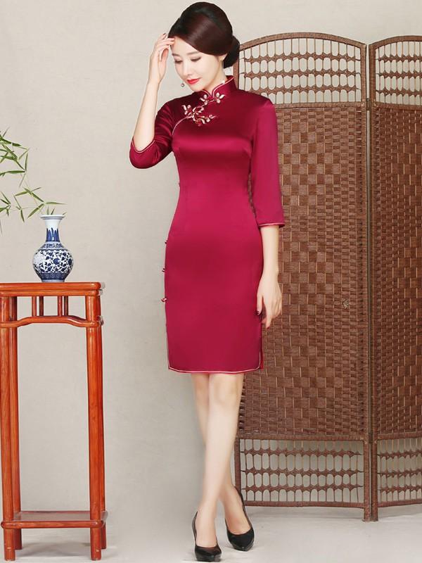 Rose Red Silk Midi Qipao / Cheongsam Dress