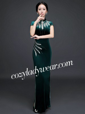 Beads Ankle-length Velvet Cheongsam / Qipao Party Dress