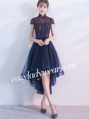 Blue A-line Qipao / Cheongsam Dress with Dip Hem