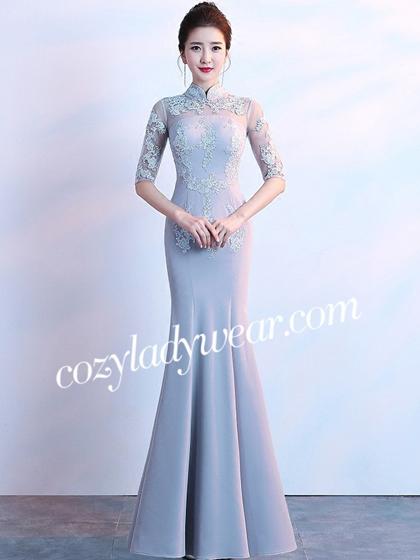 2eab1adc4735b Gray Floor Length Mermaid Qipao /Cheongsam Dress - CozyLadyWear