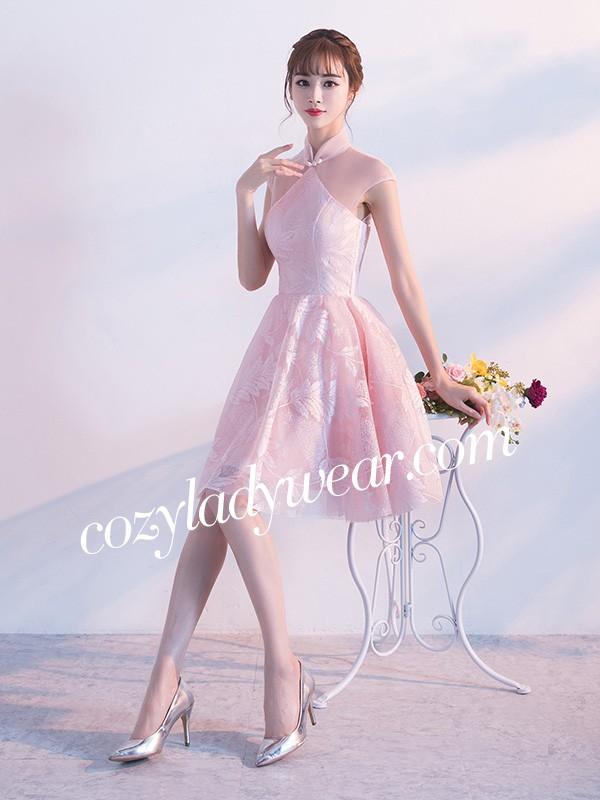 Short Bridesmaids Tulle Qipao / Cheongsam Dress