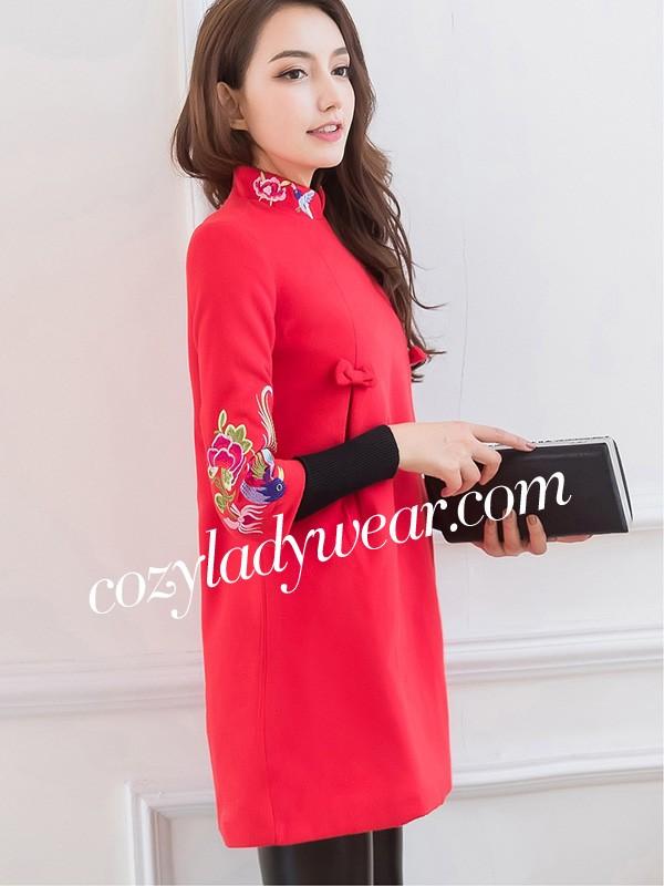 Red Embroidered Long Sleeve Qipao / Cheongsam Dress