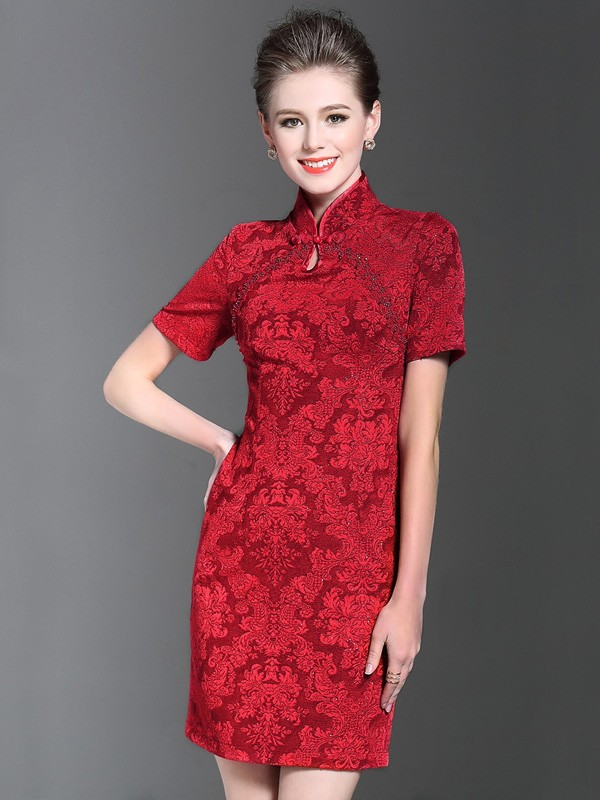Red Sequined Short Qipao / Cheongsam Evening Dress