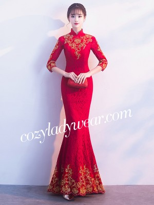 Wine Red Lace Mermaid Qipao / Cheongsam Wedding Dress
