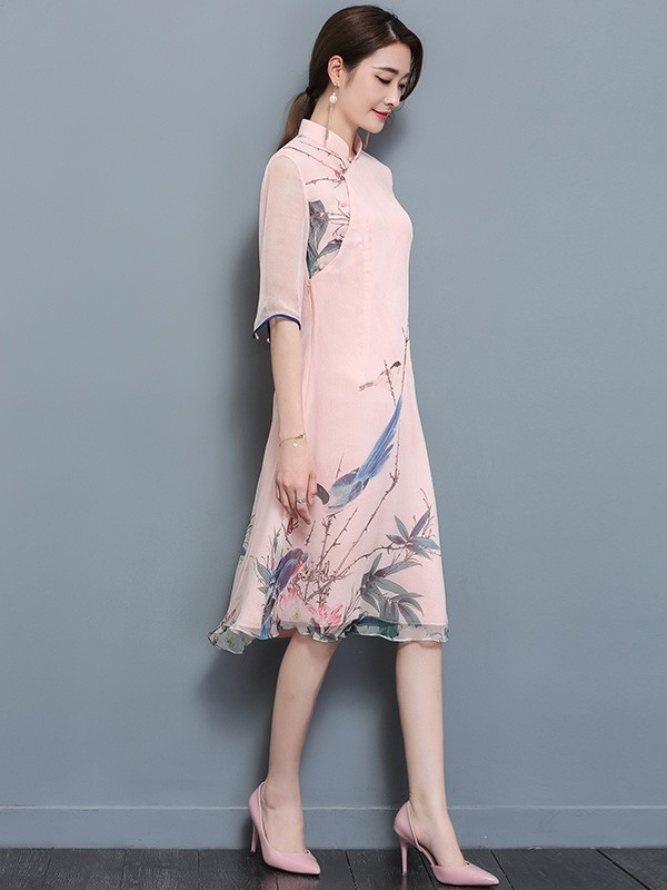 Pink Midi Qipao / Cheongsam Dress in Floral & Bird Printing