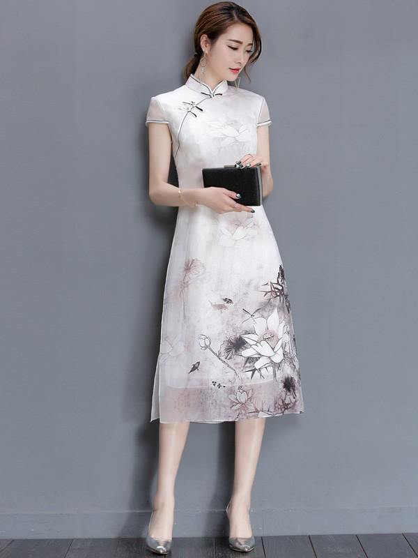 White Qipao / Cheongsam Dress in Lotus Printing