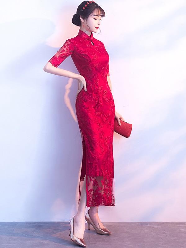 Embroidered Long Qipao / Cheongsam Dress with Split
