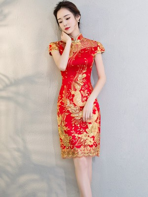 Red Embroidered Mesh Overlay Qipao / Cheongsam Wedding Dress