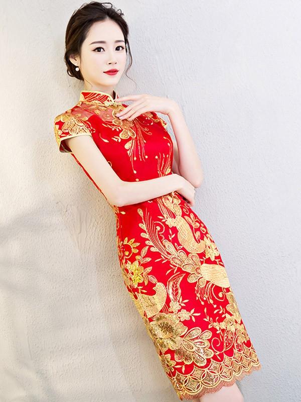 Red Embroidered Mesh Overlay Qipao / Cheongsam Wedding Dress