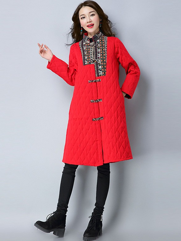 Longline Padded Quilted Pockets Qipao Tang Coat