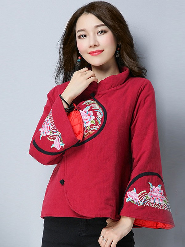 Women Padded Quilted Tang Zhuang Coat with Trumpet Sleeve