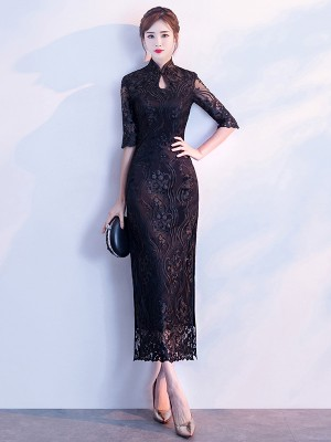 Black Embroidered Overlay Qipao / Cheongsam Dress with Split