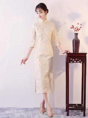 Embroidered Midi Qipao / Cheongsam Evening Dress