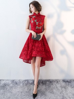 Red Lace Embroidered Qipao / Cheongsam Evening Dress with Dip Hem