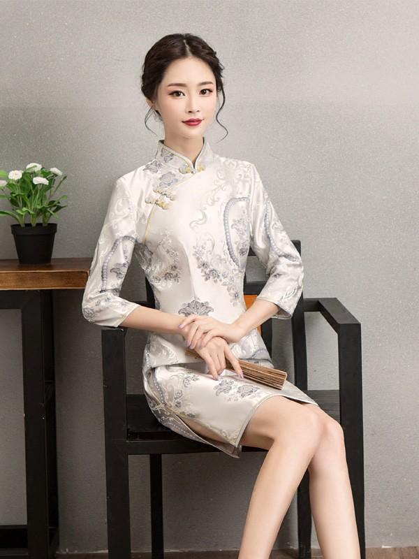 Blue Embroidered Silk Qipao / Cheongsam Dress with Long Sleeve