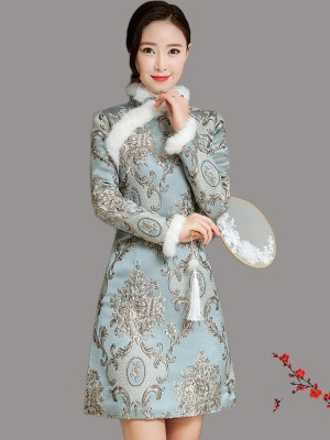 Blue Quilted Embroidered Qipao / Cheongsam Dress for Winter