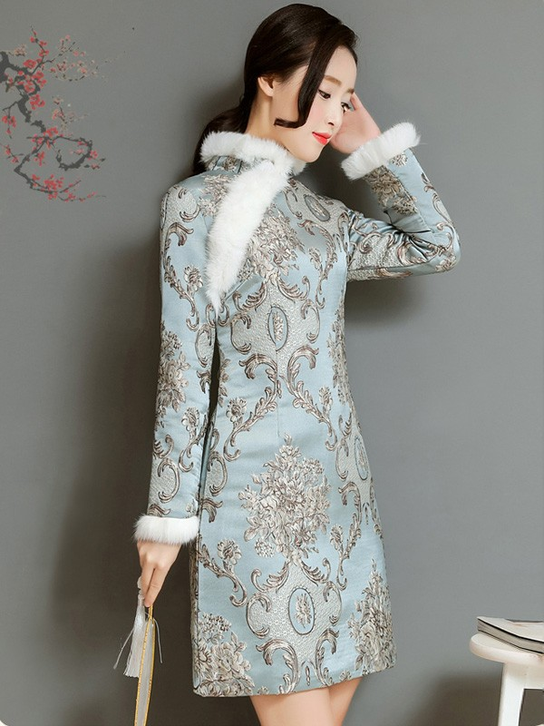 Blue Padded Embroidered Qipao / Cheongsam Dress for Winter