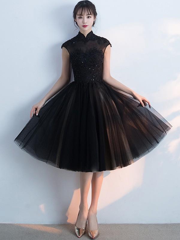 Black Midi Qipao / Cheongsam Evening Dress with Tulle Skirt