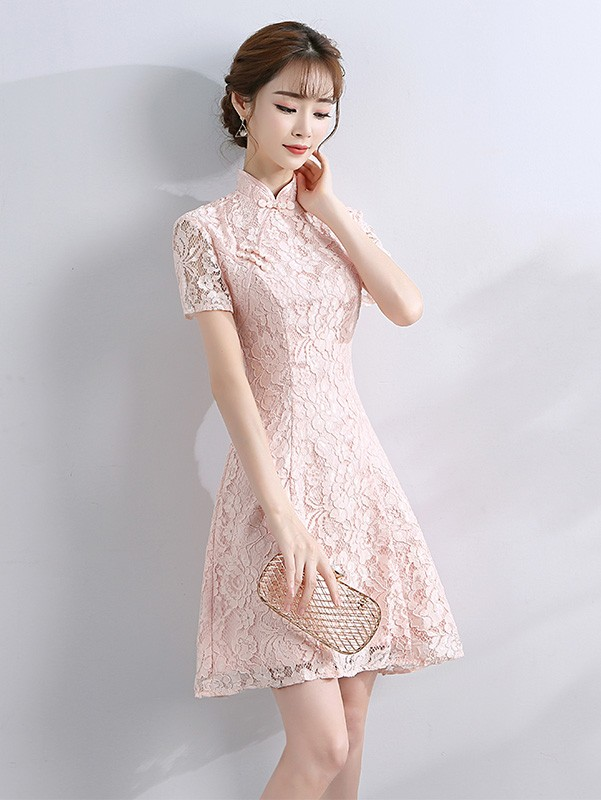Bridesmaids Short A-Line Lace Qipao / Cheongsam Evening Dress