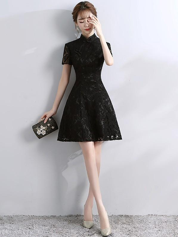A-Line Short Lace Qipao / Cheongsam Evening Dress