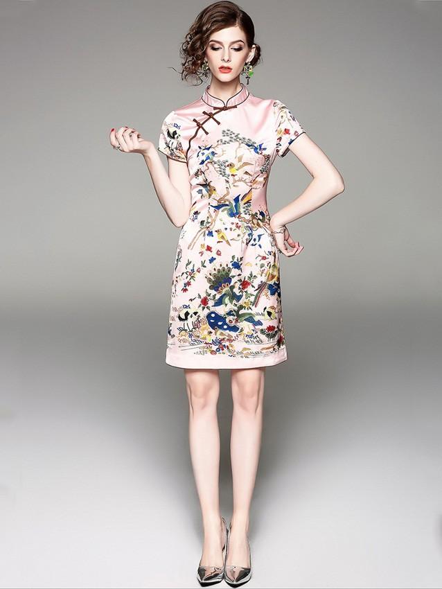 Short Qipao / Cheongsam Dress in Floral & Bird Print