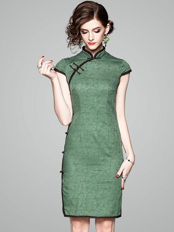 Green Floral Linen Qipao Cheongsam Dress Cozyladywear