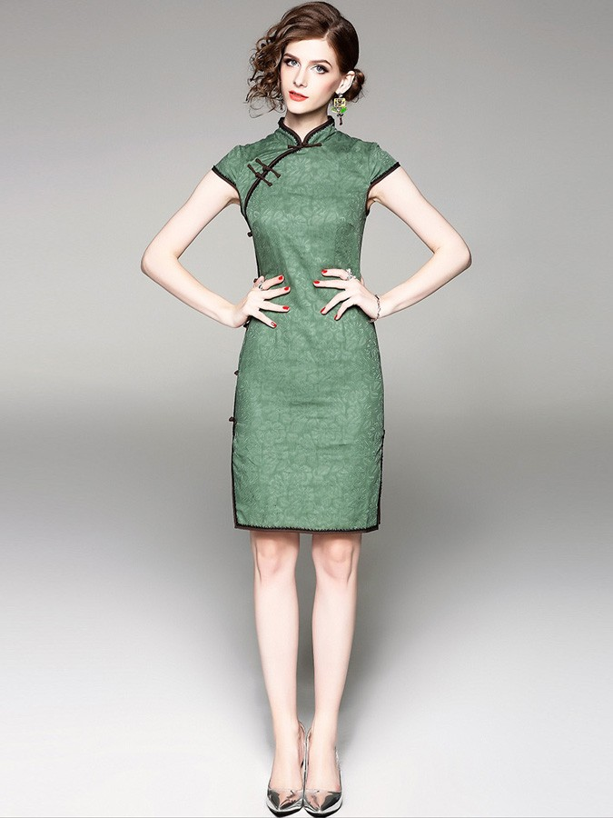 Green Floral Linen Qipao / Cheongsam Dress