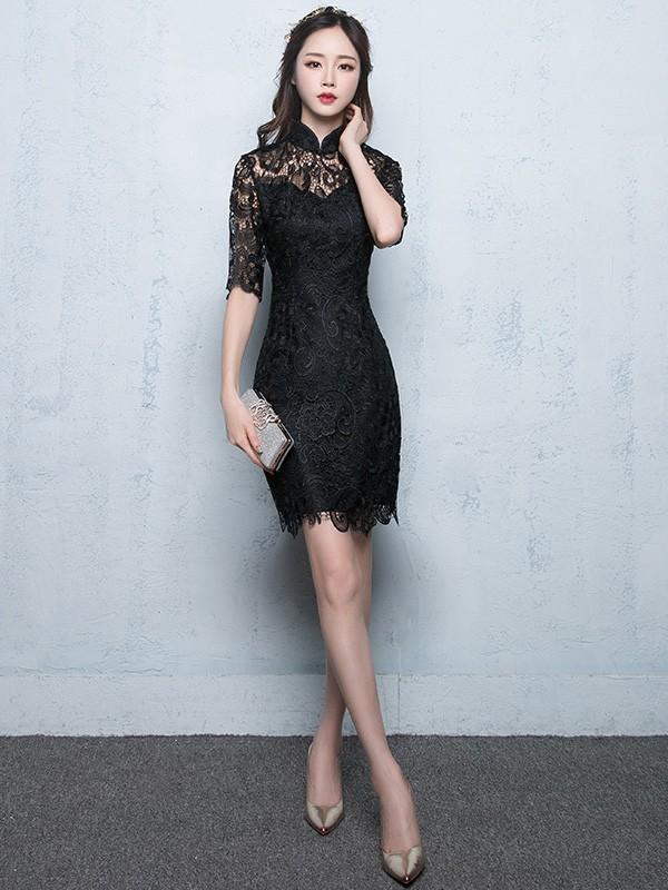 Short Half Sleeve Lace Qipao / Cheongsam Party Dress