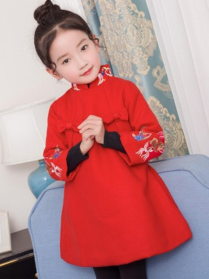 Red Embroidered Quilt Kids Cheongsam / Qipao Dress
