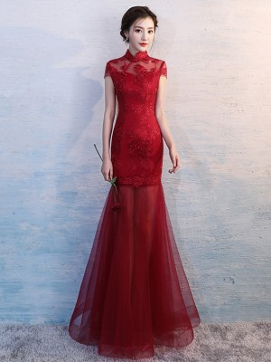 Fishtail Qipao / Cheongsam Wedding Dress with Illusion Skirt
