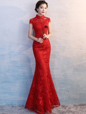 Red Long Fishtail Qipao / Cheongsam Wedding Dress