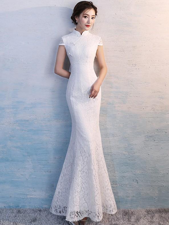 white lace long qipao cheongsam wedding dress cozyladywear