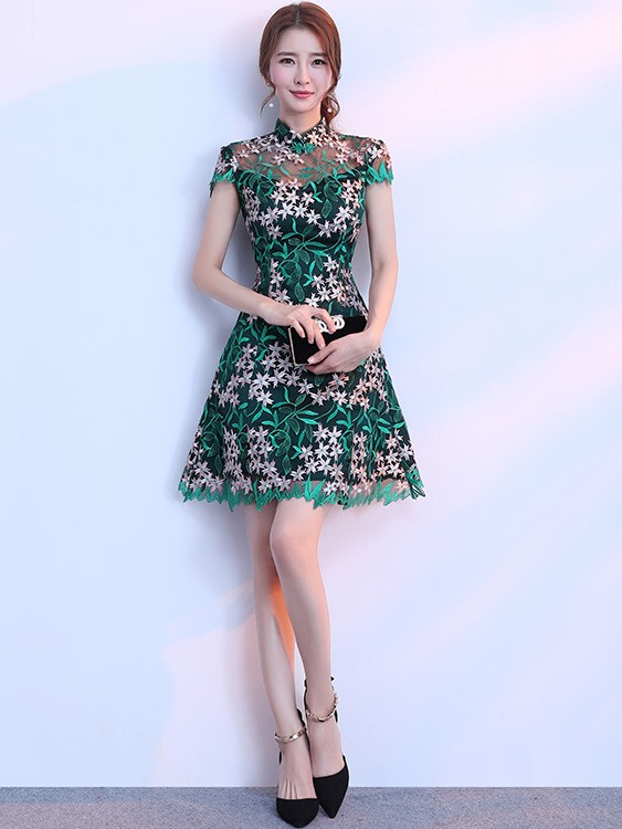 883da96e4ee Green Embroidered A-Line Qipao   Cheongsam Party Dress. Loading zoom