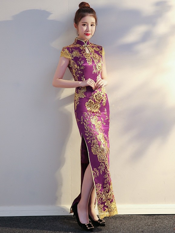 Purple Sequined Long Qipao / Cheongsam Evening Dress
