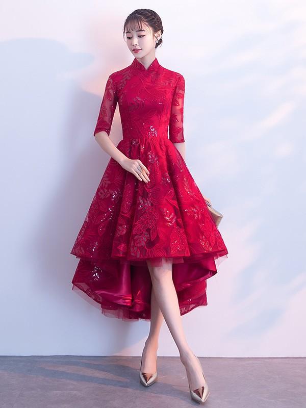 Wine Red Qipao / Cheongsam Evening Dress with High Low Hem