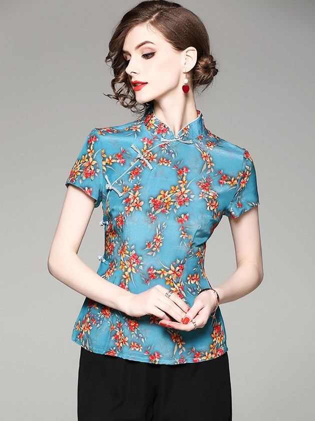 Blue Floral Printed Qipao / Cheongsam Top Blouse