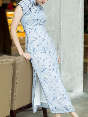 Blue Floral Chiffon Long Qipao / Cheongsam Dress