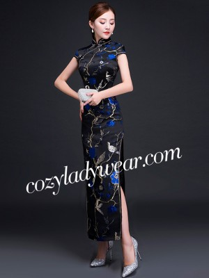Woven Blue Floral Qipao / Cheongsam Evening Dress